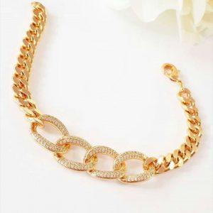 دستبند طرح طلا رنگ ثابت