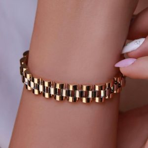 دستبند طرح طلا کد 4513